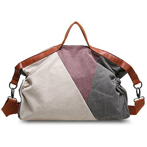 Fashionable Color Block and Canvas Design Tote Bag For Women