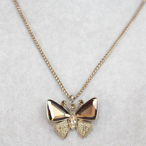 Sweet Cute Women's Rhinestone Crystal Butterfly Pendant Sweater Chain Necklace - COLOR ASSORTED