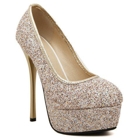 Stunning Sexy High Heel and Sequined Design Pumps For Women - GOLDEN 39