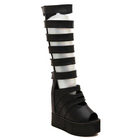 Fashionable Hollow Out and Platform Shoes Peep Toed Boots For Women - BLACK 39