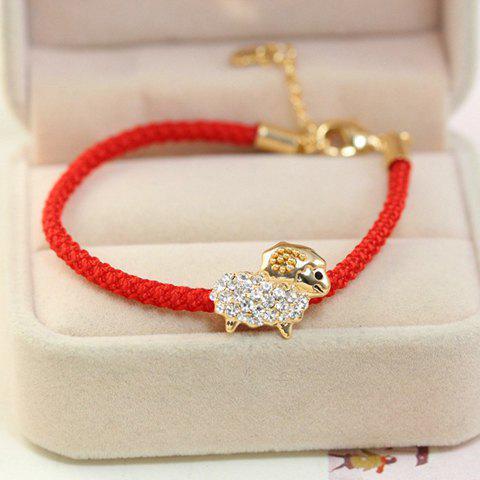 Sweet Cute Women's Rhinestone Sheep Red Rope Bracelet - GOLDEN