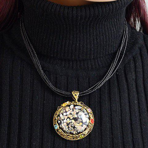Stylish Chic Women's Rhinestone Colored Round Pendant Necklace - AS THE PICTURE