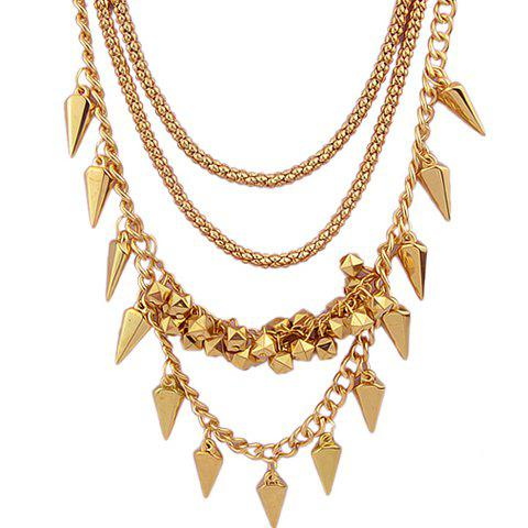 Stylish Chic Women's Rivet Layered Necklace - GOLDEN