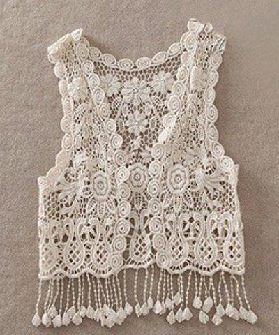 Sweet Women's V-Neck Sleeveless Hollow Out Lace Capelet - OFF WHITE ONE SIZE(FIT SIZE XS TO M)