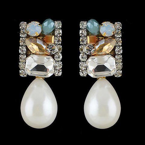 Pair of chic Faux Pearl Embellished Waterdrop-Shaped Pendant Earrings For Women