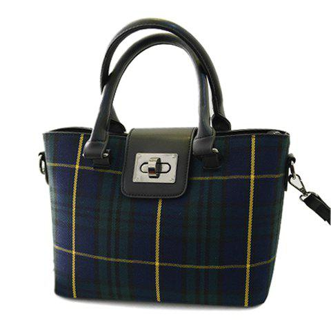 Preppy Style Plaid and Splicing Design Tote Tag For Women - GREEN