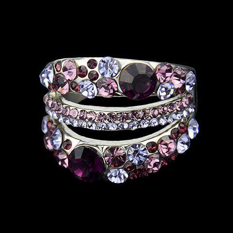 Colored Rhinestone Cut Out Ring - SILVER ONE-SIZE