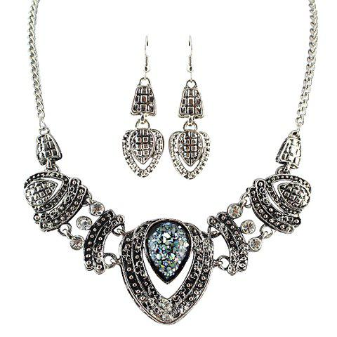 A Suit of Rhinestone Drip Pendant Necklace and Earrings - SILVER GRAY