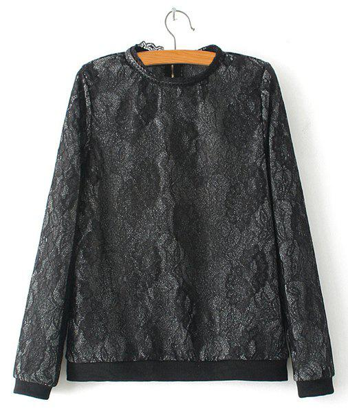 Elegant Jacquard Stand Collar Long Sleeve Sweatshirt For Women - AS THE PICTURE M