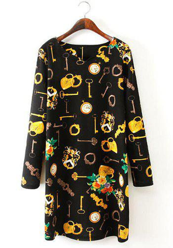 Retro Style Keys Print Round Collar Long Sleeve Dress For Women - BLACK 2XL