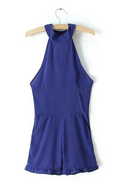Sexy Blue Halter Backless Jumpsuit For Women