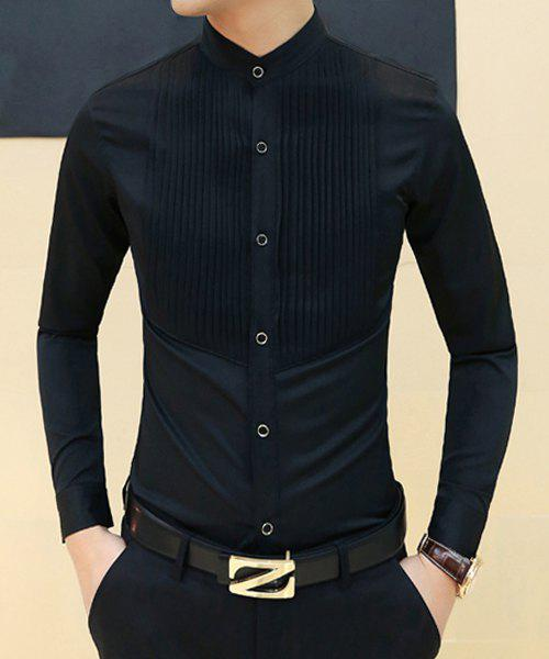 Stand Collar Blouse Designs : Stylish stand collar slimming solid color pleated design