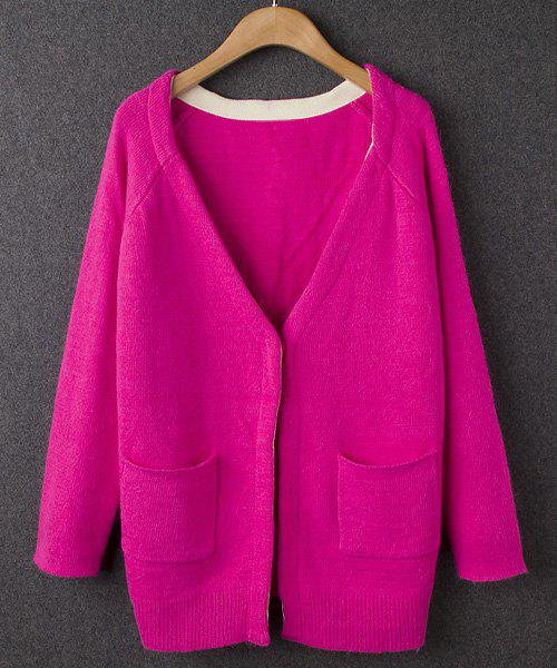 Ladylike Plunging Neck Candy Color Double Pockets Long Sleeve Cardigan For Women - ROSE MADDER ONE SIZE(FIT SIZE XS TO M)