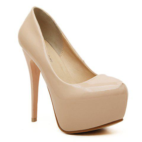 Stylish Patent Leather and Sexy High Heel Design Women's Pumps - APRICOT 39