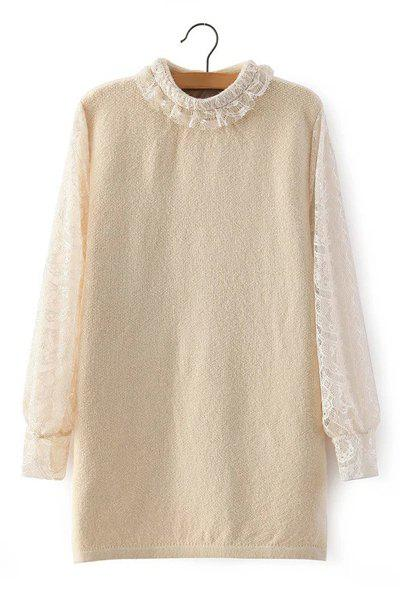 Sweet Lace Splicing Stand Collar Long Sleeve Sweater For Women - LIGHT KHAKI ONE SIZE(FIT SIZE XS TO M)