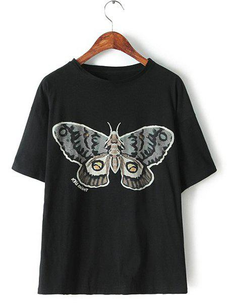 Jewel Neck Butterfly Print Casual Style Short Sleeve T-Shirt For Women - BLACK L