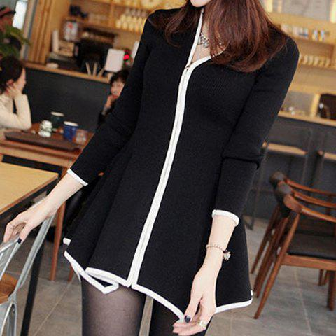 Fashionable Long Sleeve Round Collar Asymmetrical Zippered Women's Cardigan - BLACK ONE SIZE(FIT SIZE XS TO M)