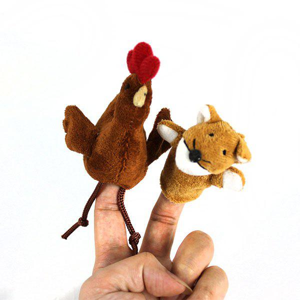 2Pcs Cute Doll Design Plush Toy Finger Puppets Telling Story Doll Props Fox and Chicken - AS THE PICTURE