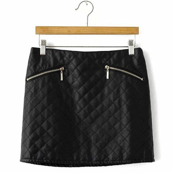 Argyle PU Leather Casual Style Zipper Fly Skirt pour les femmes - Noir L