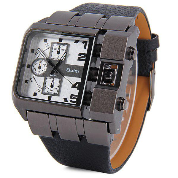 Oulm 3364 Male Quartz Watch with Square Dial Leather Watchband - WHITE