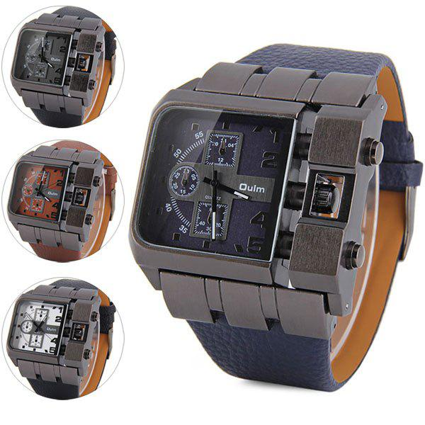 Oulm 3364 Male Quartz Watch with Square Dial Leather Watchband