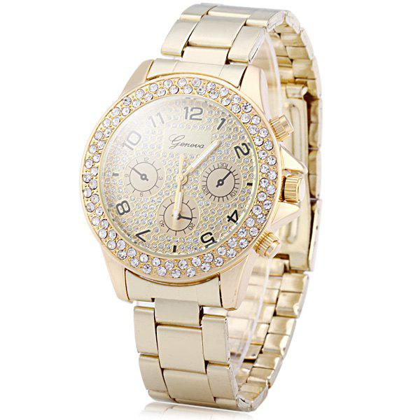 Geneva Diamond Decorative Sub-dials Quartz Watch Stainless Steel Band for Women - GOLDEN