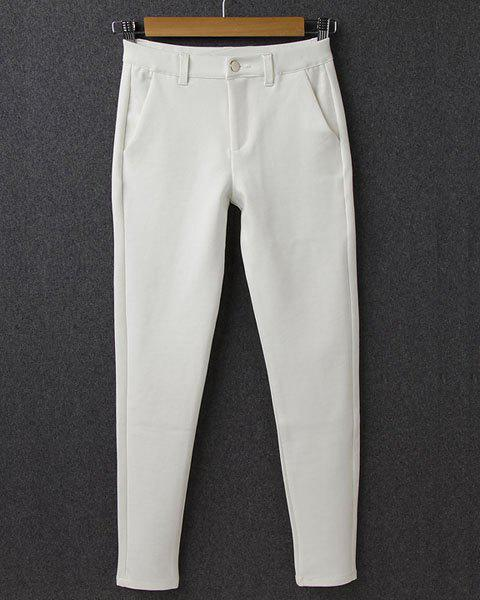OL Style Button Fly Solid Color Pencil Pants For Women - WHITE 38