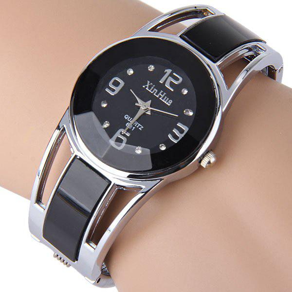 Xinhua 681 Bracelet Style Quartz Watch with Rhinestone Dial Stainless Steel Band for Women popular women watch analog with diamonds style round dial steel watch band