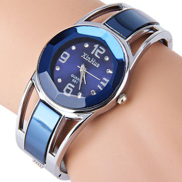 Xinhua 681 Bracelet Style Quartz Watch with Rhinestone Dial Stainless Steel Band for Women - BLACK