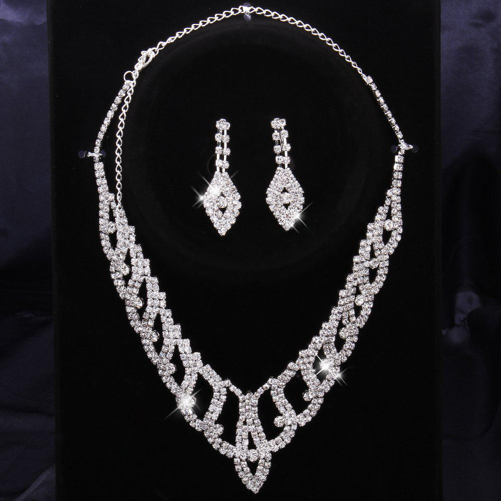 Rhinestone Embellished Openwork Necklace and Earrings - WHITE