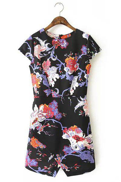 Jewel Neck Floral Print Slit Casual Style Short Sleeve Dress For Women - BLACK S