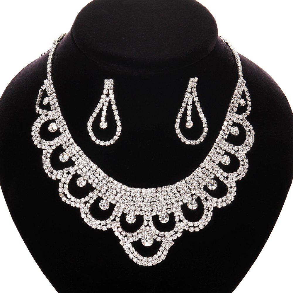 A Suit of Simple Fashionable Women's Rhinestone Openwork Necklace And Earrings