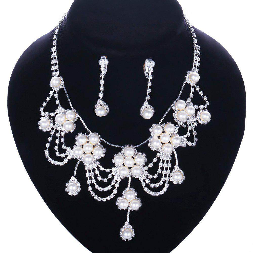A Suit of Stylish Chic Women's Beads Faux Pearl Necklace And Earrings - WHITE