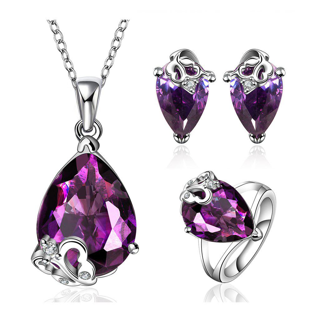 A Suit of Sweet Cute Women's Faux Crystal Decorated Necklace And Earrings And Ring