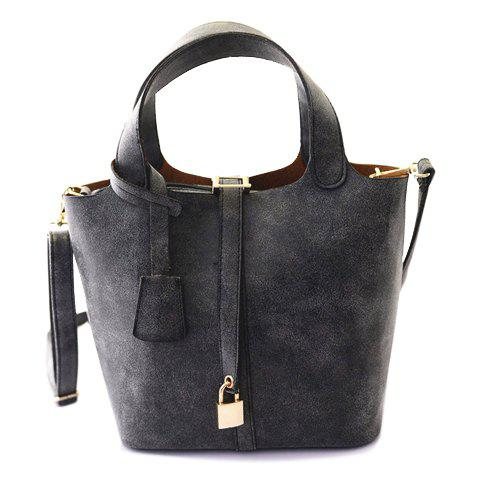 Gorgeous Suede and Lock Pendant Design Tote Bag For Women - DEEP GRAY