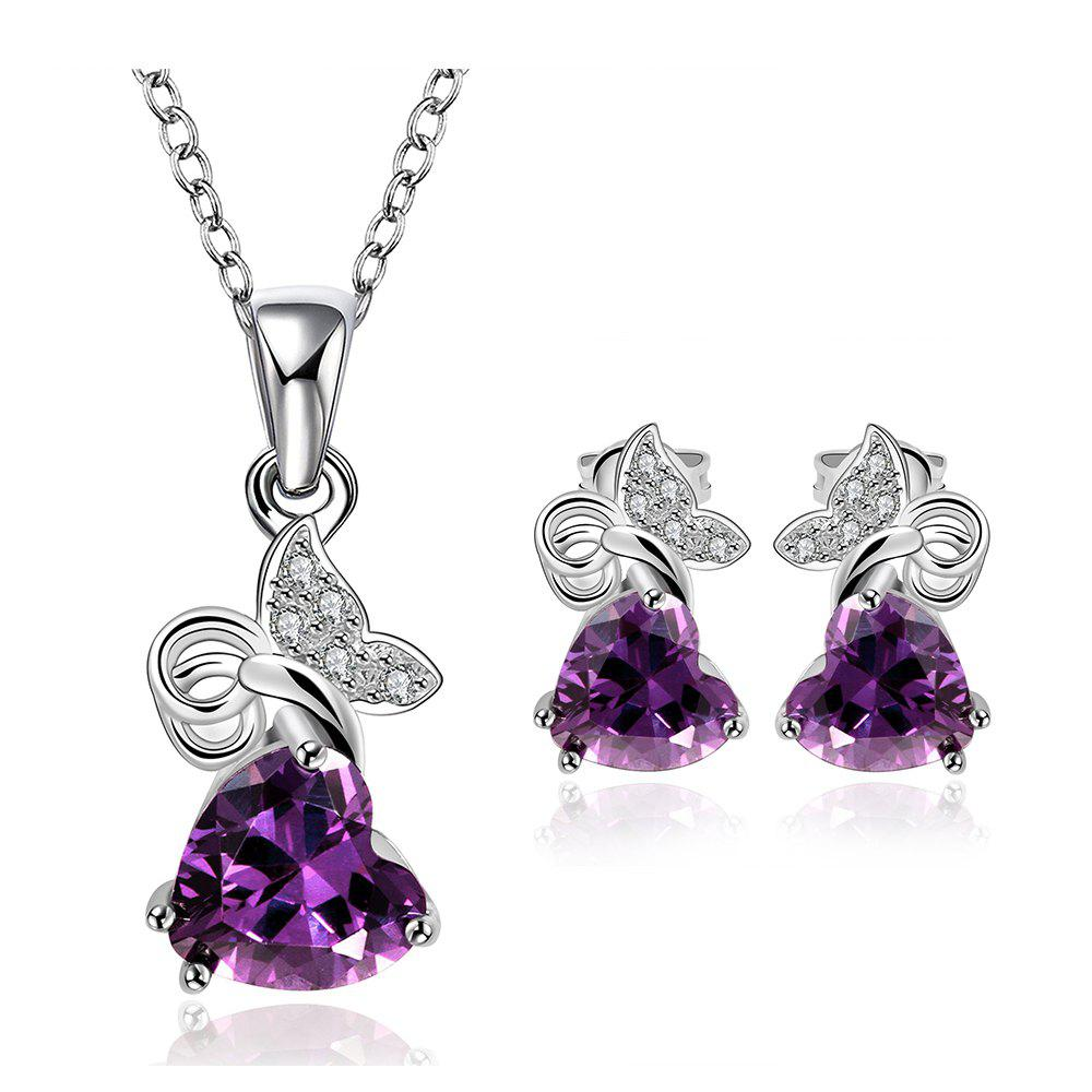 A Suit of Stylish Chic Women's Heart Beads Embellished Necklace And Earrings - VIOLET