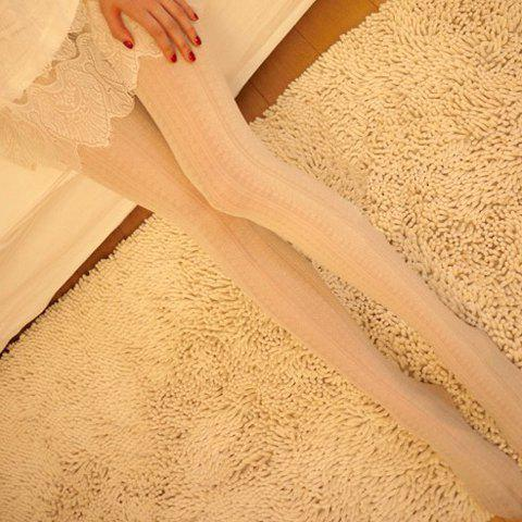 Fashionable Lace and Striped Pattern Solid Color Pantyhose For Women - WHITE