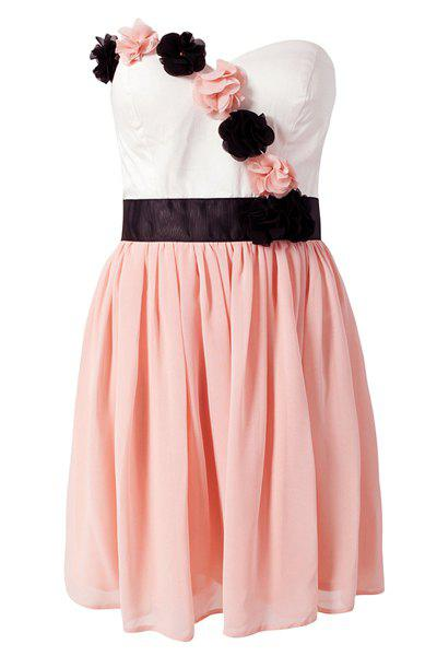 Sweet Style Strapless Color Block Stereo Flower Women's Dress - PINK S