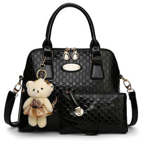Stylish Bear Pendant and Embossing Design Tote Bag For Women - BLACK