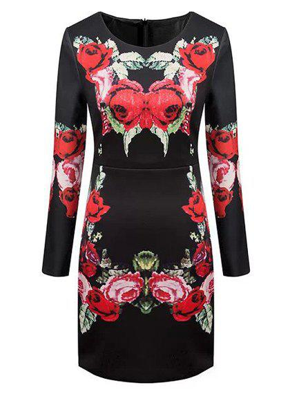 Jewel Neck Floral Print Elegant Style Long Sleeve Dress For Women