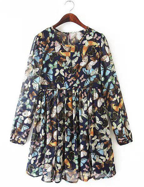 Refreshing Butterfly Print Round Collar Long Sleeve Pleated Dress For Women - COLORMIX L