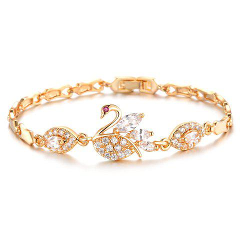 Sweet Women's Cubic Zirconia Inlaid Swan Bracelet - GOLDEN