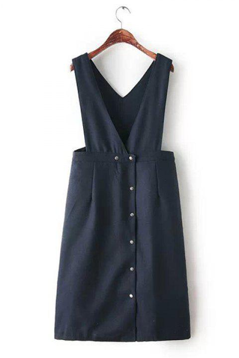 V-Neck Solid Color Buttons Preppy Style Sleeveless Dress For Women - PURPLISH BLUE ONE SIZE(FIT SIZE XS TO M)