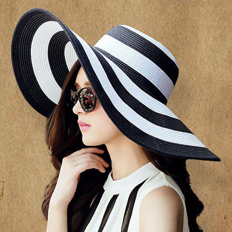 Fashionable Wide Brim Black and White Striped Pattern Sun Hat For Women - WHITE/BLACK