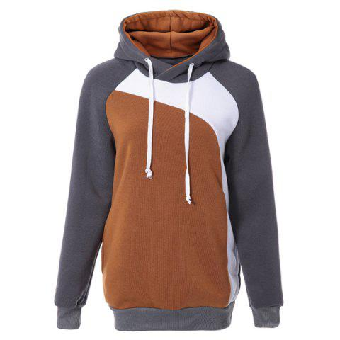 Trendy Hooded Slimming Personality Color Splicing Long Sleeves Men's Thicken Hoodies - GREY/WHITE XL