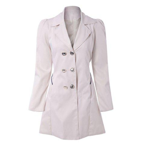 Fit and Flare Double Breasted Coat - APRICOT L