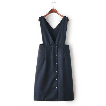 V-Neck Solid Color Buttons Preppy Style Sleeveless Dress For Women