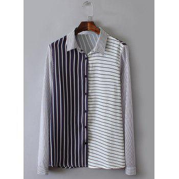 Polo Collar Stripe Color Block Fashionable Long Sleeve Shirt For Women - BLUE AND WHITE BLUE/WHITE