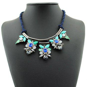Sweet Fresh Women's Rhinestone Floral Design Necklace - BLUE BLUE