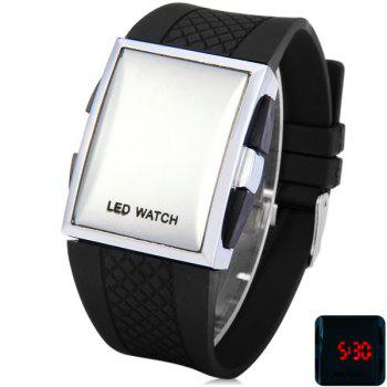 Trendy Mirror Dial Silicone Digital Men Watch Rectangular Wrist Watch